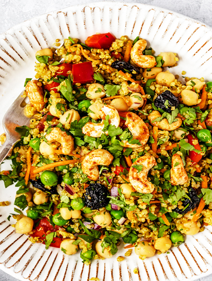 Curry Cashew Chickpea Quinoa Salad