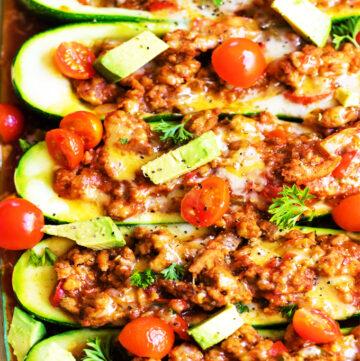 Spicy Zucchini Taco Boats